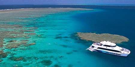 The Great Barrier Reef silver sonic dive boat in Cairns Australia